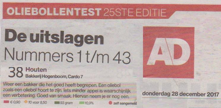 Hoogeboom 38e oliebollentest sponsor Nieuwjaarsduik Houten