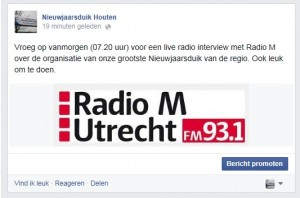 Radio M live radio interview nieuwjaarsduik